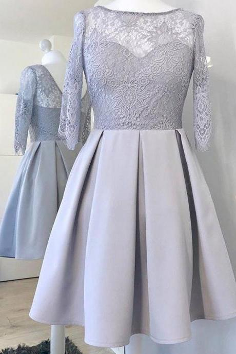 A-Line Bateau Long Sleeves Grey Homecoming Dress with Lace, Short Satin Graduation Dress with Lace H327