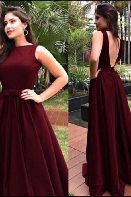 Dark Red Satin Prom Dress, Floor Length Sleeveless Formal Dress, A Line V Neck Evening Dress with Bowknot P294