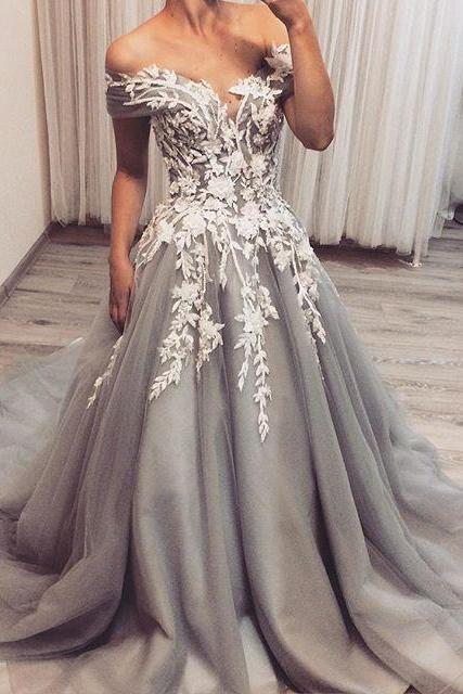 Dark Gray Off Shoulder Long Prom Dress with Ivory Appliques, A Line Tulle Formal Dresses, Charming Off the Shoulder Evening Dress P295
