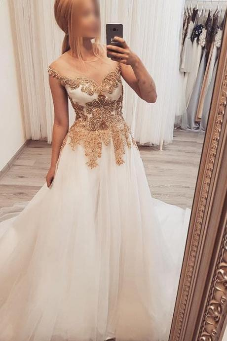 Ivory See Through Formal Dress with Gold Appliques, Long Tulle Evening Dress, A Line Prom Dress P297