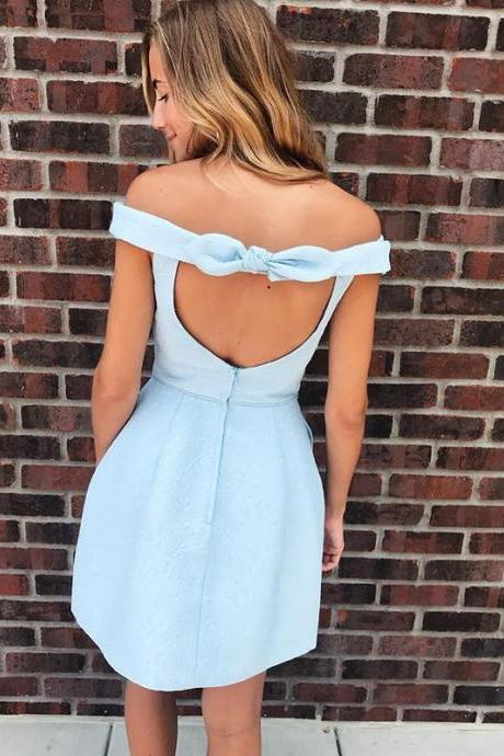 Light Blue Open Back Off the Shoulder Short Prom Dress, Above Knee Length Short Homecoming Dresses H336