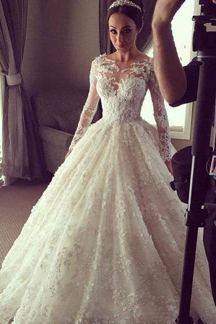 Ivory Long Sleeve Lace Bridal Dress, Ball Gown Lace Wedding Dress, Gorgeous Lace Wedding Gown W104