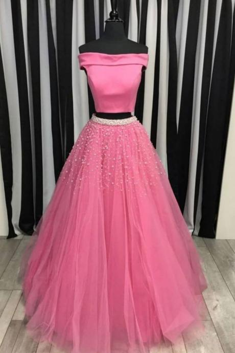 Two Piece Prom Dress, Off the Shoulder Tulle Evening Dress with Beading, Floor Length Prom Gown P300