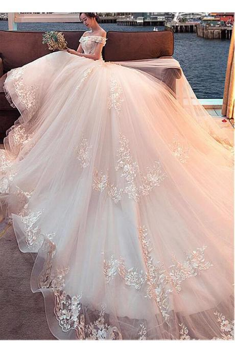 Gorgeous Off the Shoulder Ball Gown Wedding Dress, Attractive Tulle Bridal Dress with Cathedral Train W114