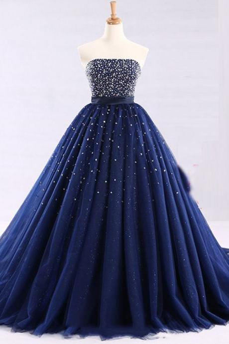 Shiny Beaded Lace Up Back Strapless Ball Gown Quinceanera Dress, Gorgeous Beading Prom Dresses P314