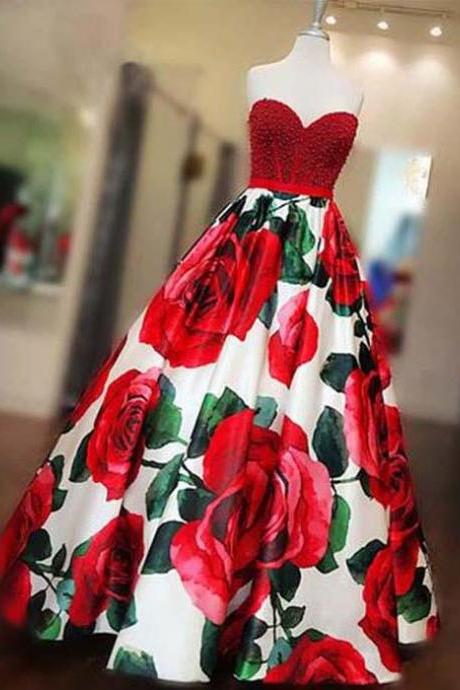 A Line Floor Length Sleeveless Beaded Prom Gown, Red Printed Sweetheart Long Prom Dresses P321