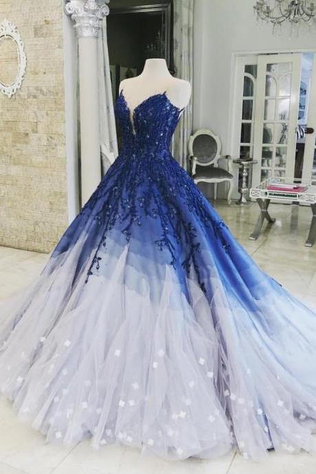 Royal Blue Ombre Prom Dress, Puffy Tulle Party Dress with Beads, Appliqued Long Quinceanera Dress P340