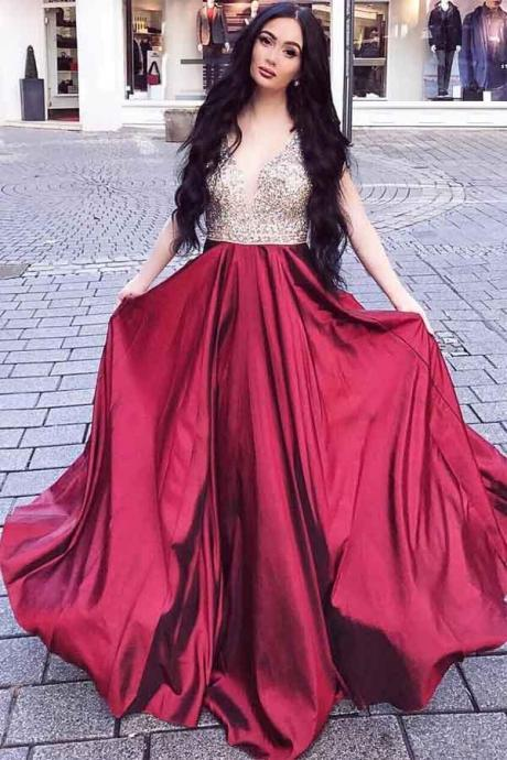 Burgundy V Neck Prom Dress, A Line Beading Party Dresses, Charming Long Prom Gown P366