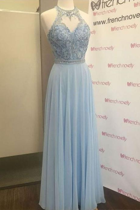 Light Blue Jewel Beading Long Chiffon Prom Dress, Elegant Sleeveless Floor Length Evening Dress P369