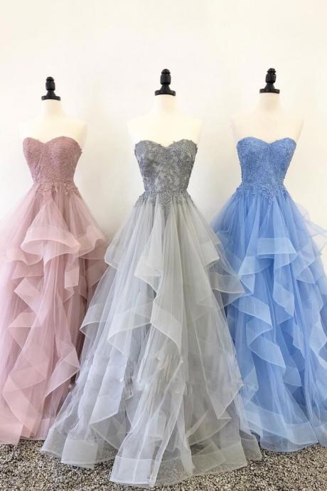 Unique Sweetheart Tulle Lace Long Prom Dress, Long Evening Dress, A Line Ruffled Party Dresses P372