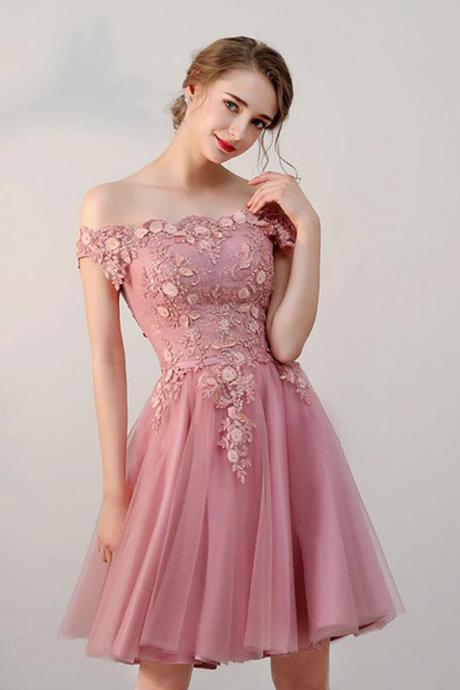 Pink Short Tulle Homecoming Dresses, A Line Off the Shoulder Tulle Prom Dresses, Short Appliqued Homecoming Dresses H338