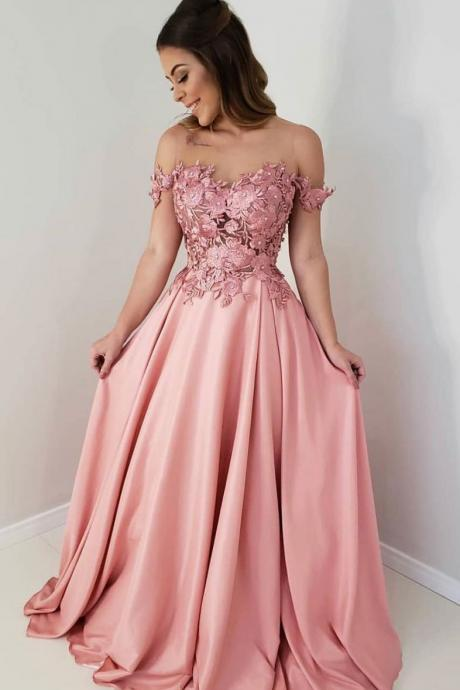 Pink Sheer Neck Long Prom Dress with Appliques, Pink Long Evening Dress with Beading P373