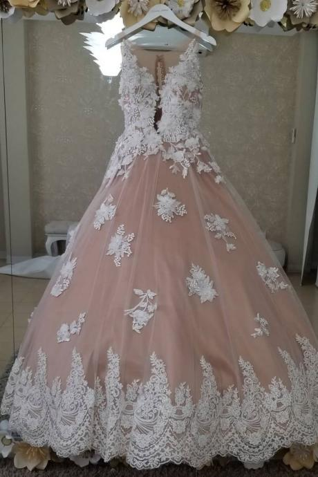 Unique Sheer Neck Sleeveless Lace Tulle Long Wedding Dress, Ball Gown Quinceanera Dresses P374