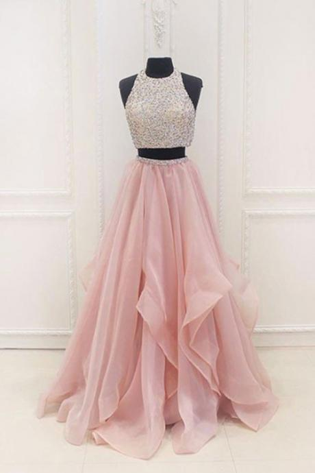 Blush Pink Two Piece Beaded Prom Dress, Bridesmaid Dress with Cascading Skirt, A Line 2 Piece Formal Dresses P375
