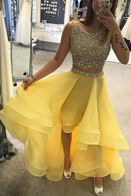 High Low Prom Dress, Two Piece Beadind Formal Dress, A Line Sleeveless High Low Graduation Dresses P377