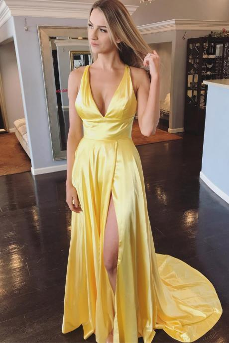 Yellow Deep V Neck Sleeveless Split Sweep Train Prom Dress, Long Formal Dress with Slit, Sexy Long Graduation Dresses P378