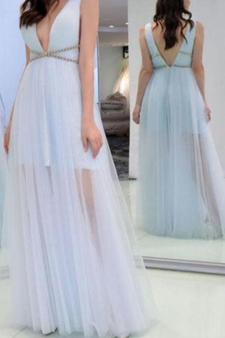 Light Blue V Neck Sleeveless Prom Dress, A Line Tulle Formal Dress with V Back, Long Prom Dress with Beading P379