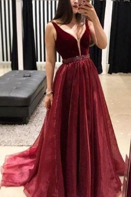 Burgundy V Neck Sleeveless Prom Dresses, A Line Beading Long Formal Dresses with Train P381