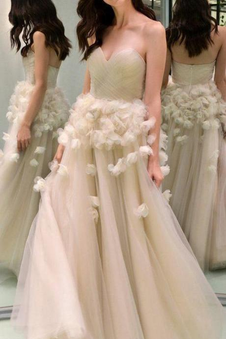 Charming Sweetheart Tulle A-Line Backless Appliques Prom Dresses, New Prom Dress with Hand Made Flowers P384
