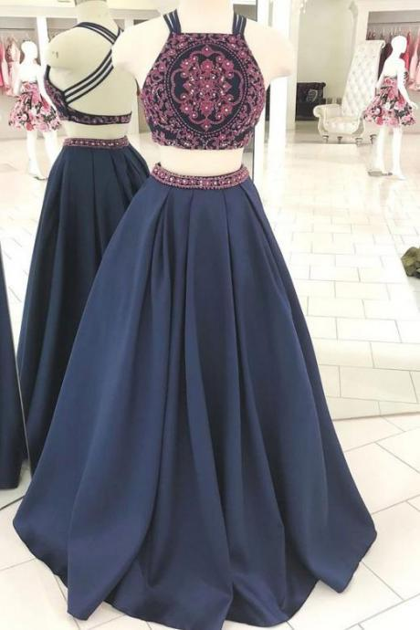 Two Piece A Line Floor Length Navy Blue Prom Dress with Embroidery Beading, A Line Long Prom Dress with Beading P385