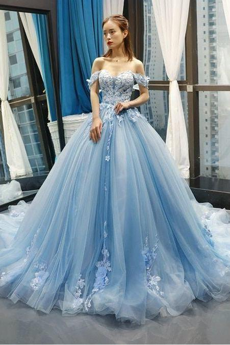 Puffy Off the Shoulder Light Sky Blue Prom Dress, A Line Tulle Party Dress with Appliques and Flowers P386