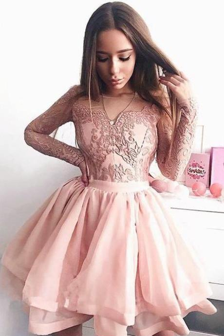 Pink Short Prom Dress with Long Sleeves, A Line Tulle Short Homecoming Dresses H340