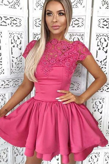 A-Line Cap Sleeves Fuchsia Homecoming Dress with Lace, Mini Prom Dress with Lace H341