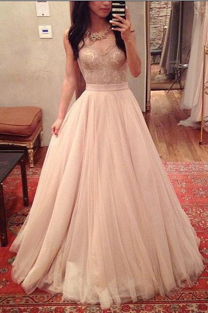 A-Line Charming Prom Dresses, Floor-Length Evening Dresses, Real Made Charming Evening Dresses,XC14