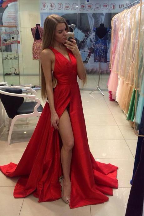 Red V-Neck Prom Dresses,Long Evening Dresses,Sleeveless Cheap Prom Dresses with Side Slit,Split Prom Gown,XC29