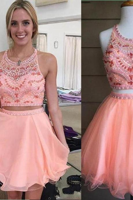 Two Pieces Charming Short Prom Dresses, Beading Homecoming Dresses,Homecoming Dresses,XC31