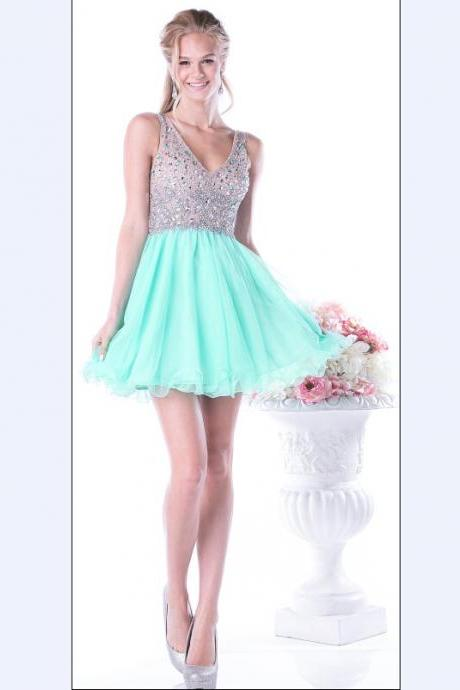 V-Neck Charming Short Prom Dresses, Beading Homecoming Dresses,Homecoming Dresses,XC27