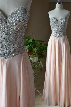 Real Made Beading A-Line Prom Dresses, Floor-Length Evening Dresses,Prom Dresses,SC86
