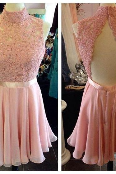 Halter Lace Chiffon Short Homecoming Dress, Cocktail Dress, Party Dress Featuring Open Back