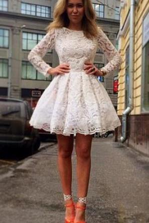 Lace Short Prom Dresses,Long Sleeve Cocktail Dress,Charming Homecoming Dresses,Homecoming Dresses,ST250