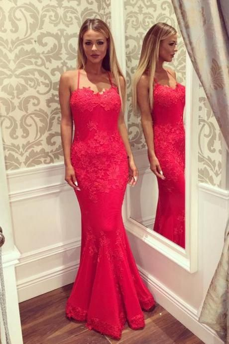 Backless Lace Mermaid Custom Made Prom Dresses, Floor-Length Evening Dress,Prom Dresses,ST275