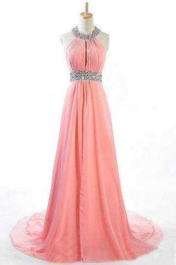 Halter Custom Made Beading Prom Dresses, Floor-Length Evening Dress,Prom Dresses,ST285