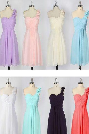 Floral Appliques Chiffon One-Shoulder Ruched Sweetheart Short A-Line Bridesmaid Dress
