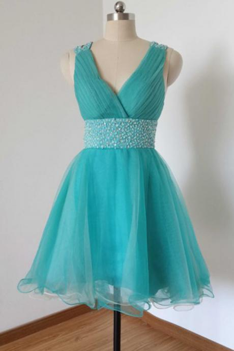 V-neck Knee Length Tulle Lake Blue Homecoming Dress,Prom Dress,Graduation Dress