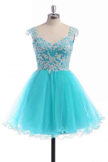 Gorgeous Baby Blue Lace Homecoming Dress,Prom Dress,Graduation Dress,Party Dress,Short Homecoming Dress,Short Prom Dress,Homecoming Dress 2016