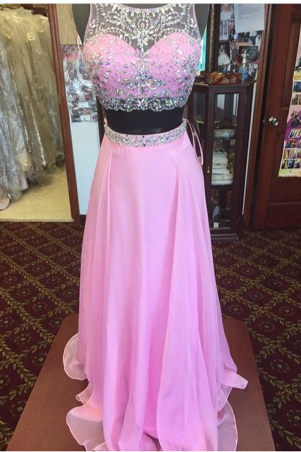Pink Beading Chiffon Prom Dresses, A-line Evening Dresses, Two Pieces Prom DressA Lne Prom Dresses,Pink Party Dresses