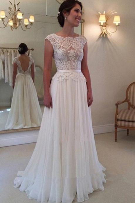 A-line Lace Appliqued Cap Sleeves Ivory Chiffon Long Beach Wedding Dresses,W052