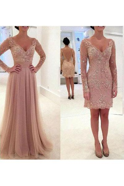 Long Sleeve Appliques Charming Prom Dress,V-neck Formal Dresses,Short Prom Dress,Long Prom Dress