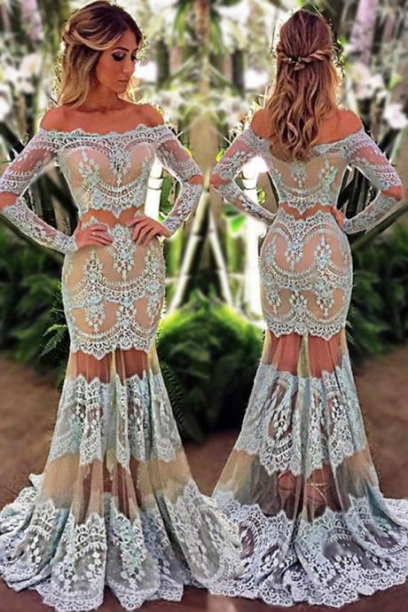 Charming Mermaid Off the Shoulder Prom Dress,Long Sleeves Floor-Length Champagne Lace Prom Dress