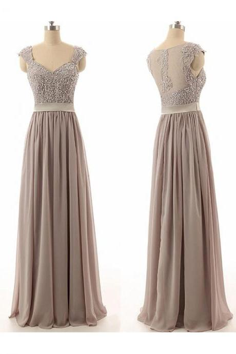 Fashion A-Line Sweetheart Chiffon Beading Bridesmaid Dress,Long Grey Bridesmaid Dresses,Chiffon Prom Dress