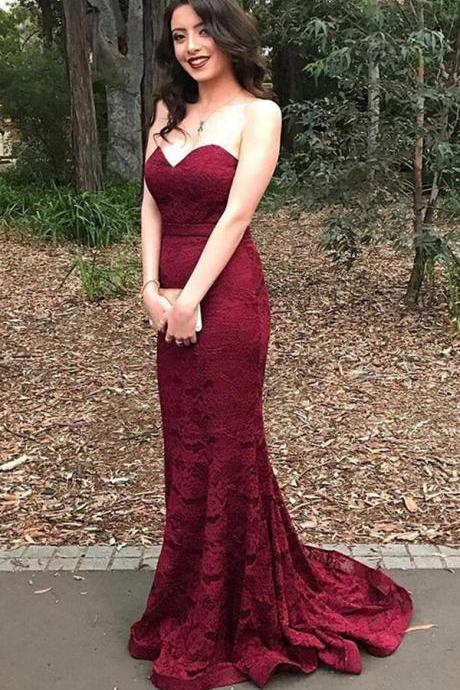 Burgundy Sweetheart Mermaid Sweep Train Lace Prom Dress,Long Prom Dresses,Lace Bridesmaid Dress,Strapless Bridesmaid Dress