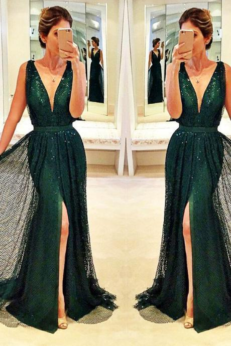 Sexy Deep V-Neck Front-Split Prom Dress,A-line Sleeveless Sequined Dark-Green Prom Dresses