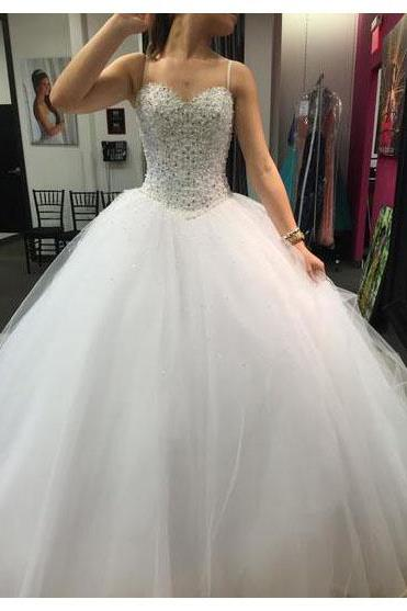 Spaghetti Straps White Wedding Dress,Luxury Pealrs and Crystals Beaded Wedding Gowns,Ball Gown Tulle Wedding Dresses