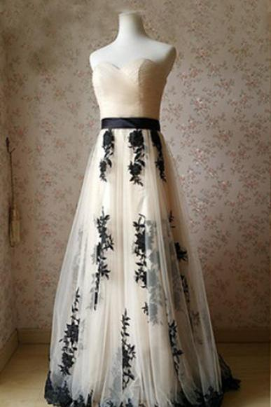 A line Stripless Prom Dress,Floor-length Tulle Appliques Prom Dresses,Sweetheart Evening Dress