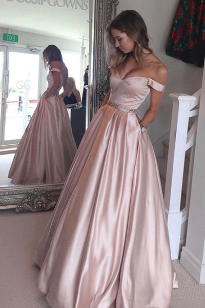 Pearl Pink Prom Dress,A-line Off the Shoulder Long Prom Gown, Ball Gown,Teens Party Dresses,Senior Prom Dress, Long Evening Dress
