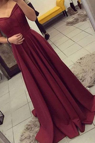 Off The Shoulder Burgundy Prom Dress,Satin Party Dresses Long,Evening Gown,Long Prom Dresses 2017